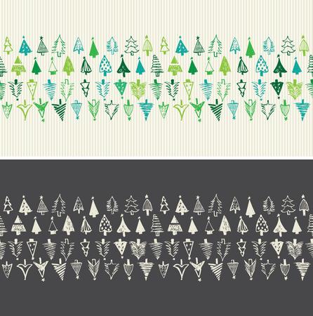 tarjeta de invitacion: Dibujados a mano de �rboles de navidad. vector sin fisuras