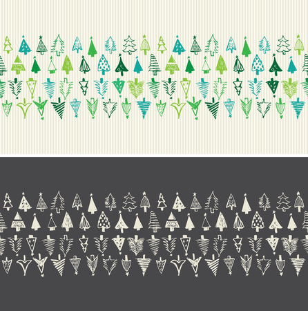 green paper: Hand Drawn Christmas Trees. Seamless vector Illustration