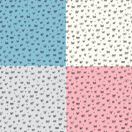 teen boy: Seamless pattern with bows  Set