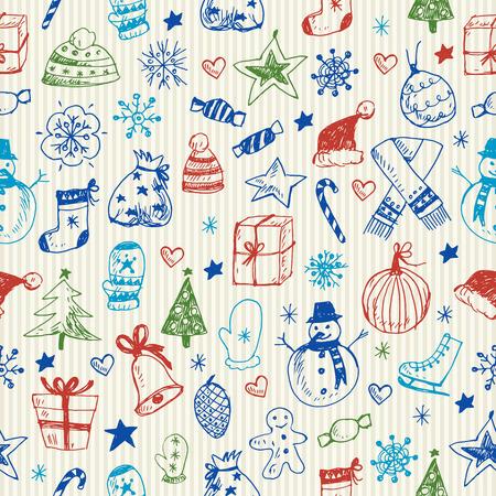 Christmas sketchy seamless pattern