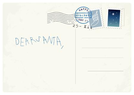 poststempel: Handwritten Brief an den Weihnachts von Kind Illustration