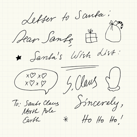 Handwritten Christmas short phrases and symbols.