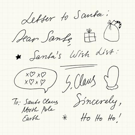 Handwritten Christmas short phrases and symbols.