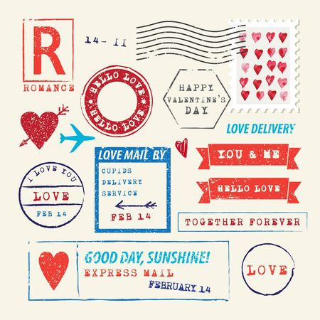Wedding and Valentine's Day stamp set.Vector Illustration. Love symbols