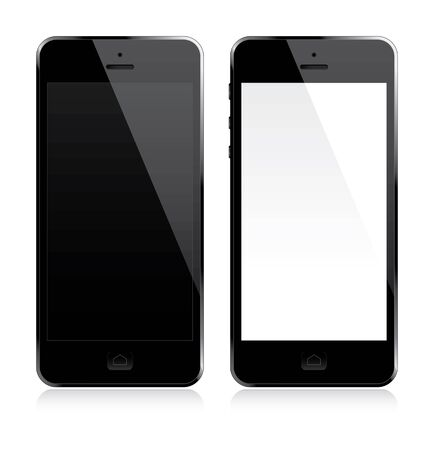 six: Smartphone with white and black screen. Vector Illustration