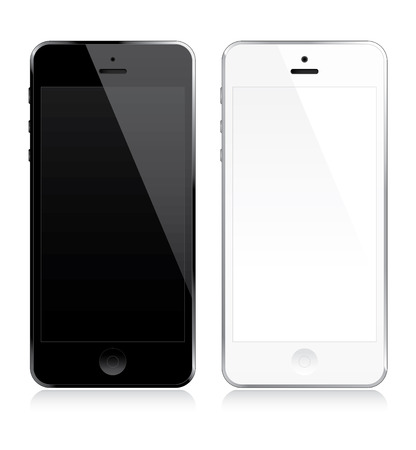 touch screen phone: White and black smartphones set Illustration