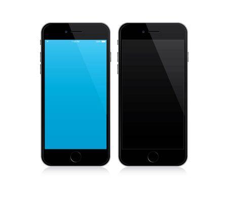 mockup smartphone con schermo blu e nero. Illustrazione vettoriale.