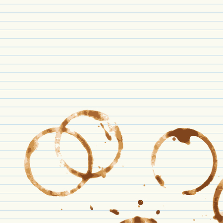 coffee stains: Coffee stains on lined paper