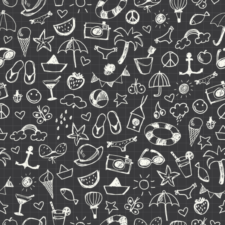 Hand-drawn Summer Doodles. Seamless pattern. Ilustrace