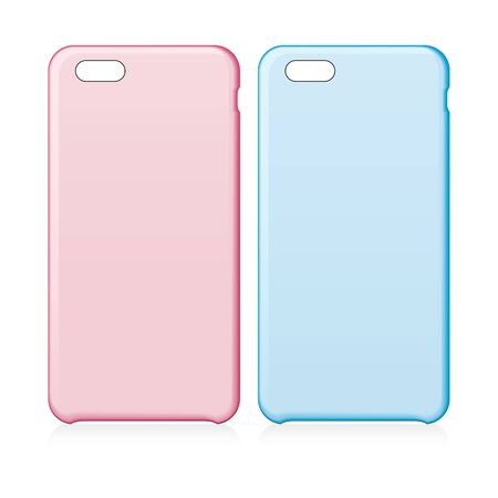 Pink and blue smartphone cases. Illustration