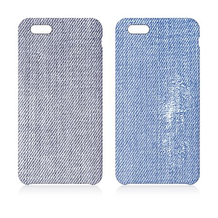 Denim textured phone covers set
