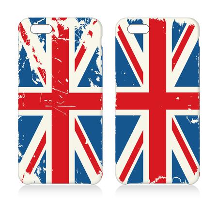 case: Set of two phone cases with grunge United Kingdom flag. Illustration