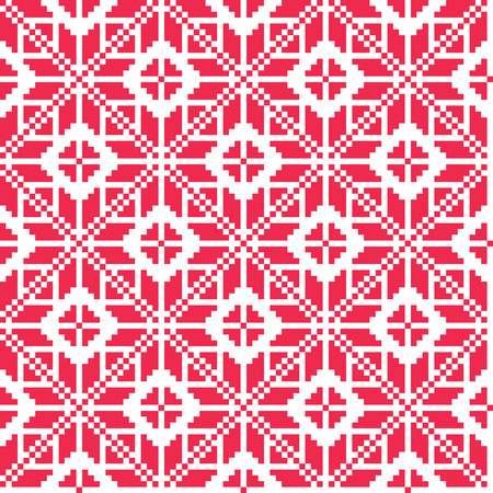 ethnographic: Traditional embroidery inspired seamless pattern. Vector Illustration