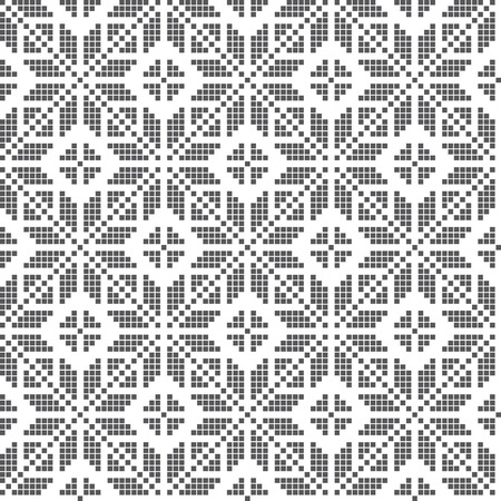 esquema: Traditional embroidery inspired seamless pattern. Vector Illustration