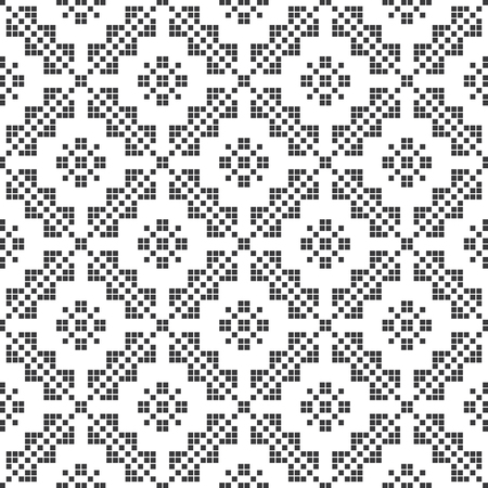 folk music: Embroidery inspired seamless pattern. Vector Illustration. Abstract background