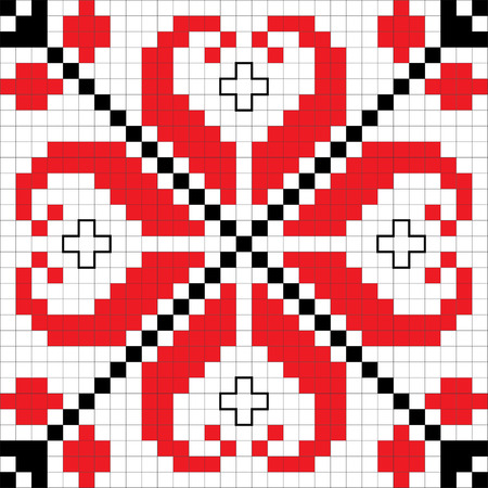 traditional illustration: Traditional Slavic embroidery scheme. Bulgarian motifs. Vector Illustration.