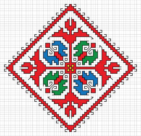 Traditional Slavic embroidery scheme. Bulgarian motifs. Vector Illustration Illustration