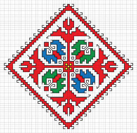 Traditional Slavic embroidery scheme. Bulgarian motifs. Vector Illustration