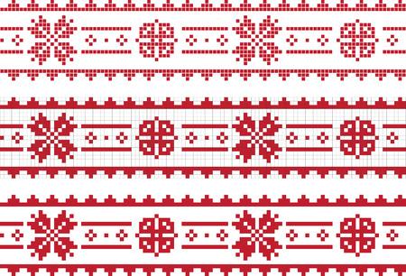 Traditional Slavic embroidery border. Vector Illustration