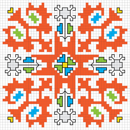 ethnographic: Traditional Slavic embroidery motif. Vector scheme.