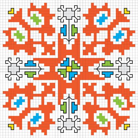 slavic: Traditional Slavic embroidery motif. Vector scheme.