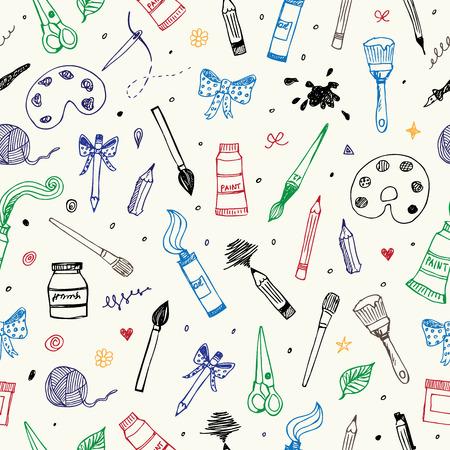 Hand getrokken Art and Craft vector naadloos patroon Stock Illustratie