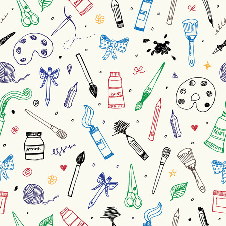 Hand drawn Art and Craft vector seamless pattern
