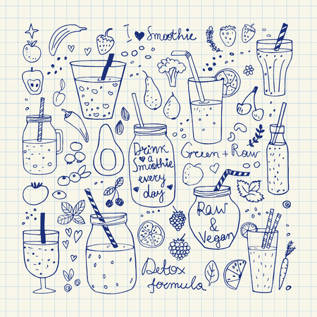 veggies: Smoothie and Raw food collection. Hand drawn vector icons