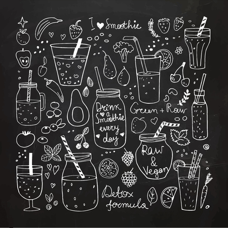 Smoothie and Raw food collection. Hand drawn vector icons