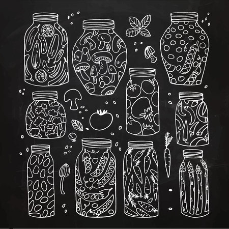 tinned: Preserved hand-drawn vector vegetables in jars isolated on chalkboard