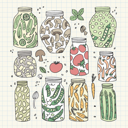 preserved: Preserved hand-drawn vector vegetables in jars isolated on graph paper Illustration