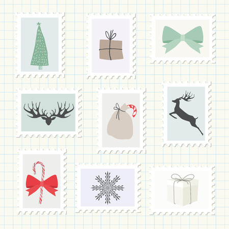 postage stamps: Christmas Postmark Collection. Vector Illustration