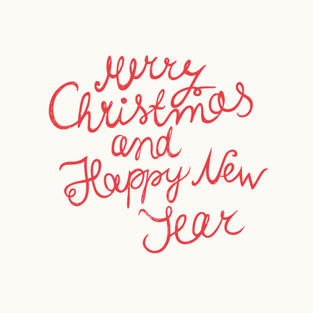 Merry Christmas and Happy New Year. Hand-written Christmas lettering