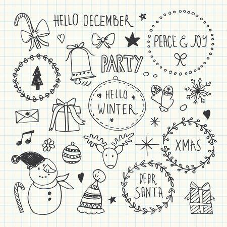 Christmas doodles set