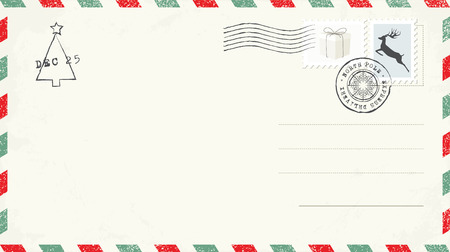 Blank Christmas Postcard Çizim