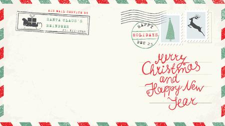 Christmas and New Year Postcard Wish