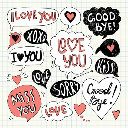 greeting, speech, print, outline, white, kiss, tag, arrow, vector, holiday, symbol, sorry, letter, graphic, notebook, decor, element, drawing, card, black, love, shape, doodle, icon, illustration, collection, design, pencil, sketch, engagement, paper, ban Ilustrace