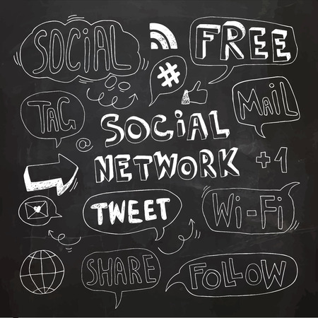 Social Network Speech Bubbles,Signs and Doodles