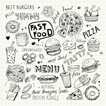 Fast food doodles. Hand drawn vector symbols and objects Ilustrace