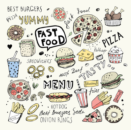 Fast food doodles. Hand drawn vector symbols and objects Illustration