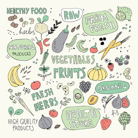 Hand Drawn Fruits and Vegetables Doodles