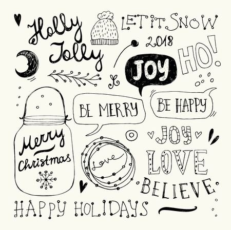 Christmas and New Year doodles collection.