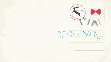 Handwritten letter to Santa from child. Vector Illustrtaion Vettoriali
