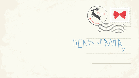 Handwritten letter to Santa from child. Vector Illustrtaion Illustration