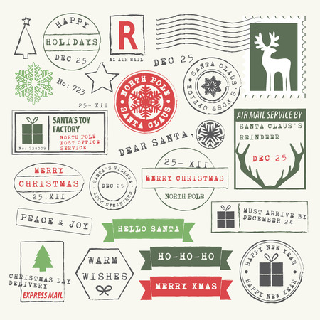Christmas Rubber Stamp Collection Ilustrace