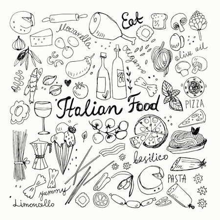 Hand Drawn Italian Food Doodles. Pencil Drawing, Ink Drawing.