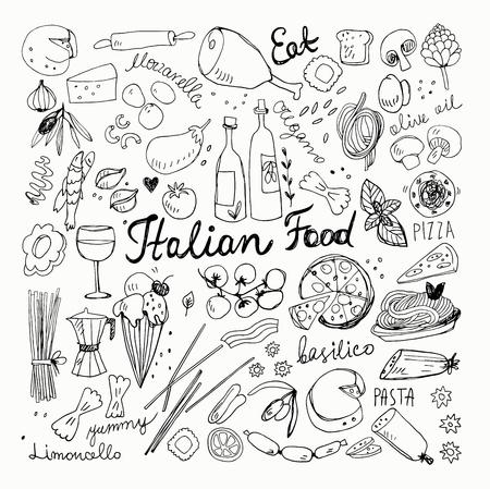 Hand Drawn Italian Food Doodles. Pencil Drawing, Ink Drawing.