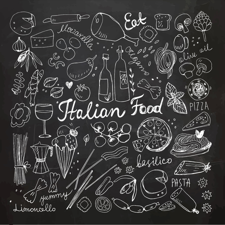 Hand Drawn Italian Food Doodles. Chalkboard drawing.