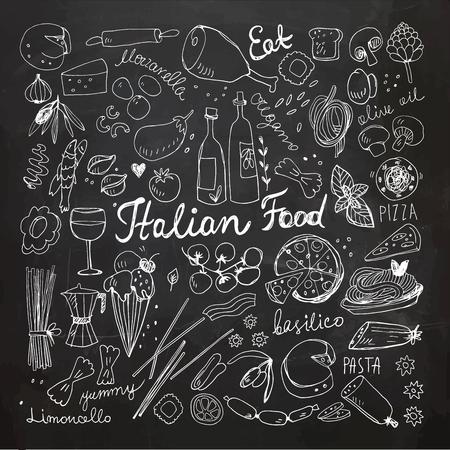 Hand Drawn Italian Food Doodles. Chalkboard drawing.