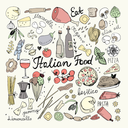 Hand Drawn Italian Food Doodles illustration.